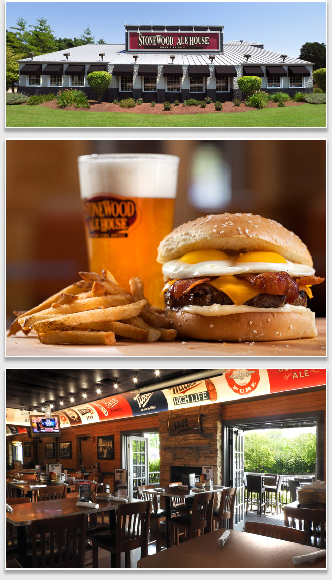 Photo of a burger, and interior and exterior of Stonewood Ale House Restaurant in Schaumburg